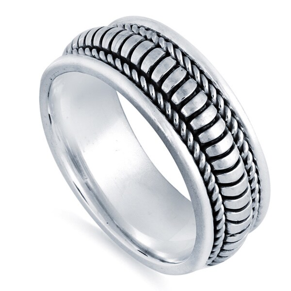 14k White Gold Handmade Ribbed Comfort-fit Wedding Band