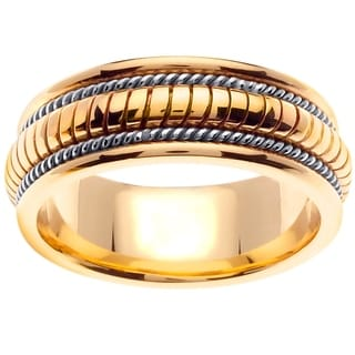14k Two-tone Gold Handmade Ribbed Comfort-fit Wedding Band