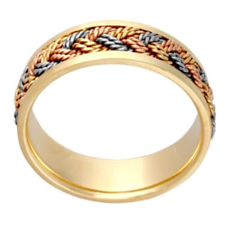 14k Tri-color Gold Handmade Woven Comfort-fit Wedding Band