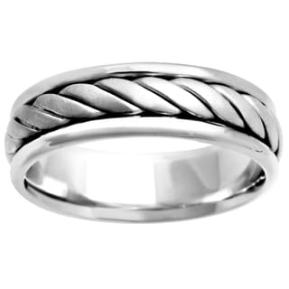 14k White Gold Women's Rope Comfort Fit Wedding Band