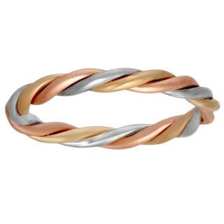 14k Tri-color Gold Women's Twisted Wedding Band