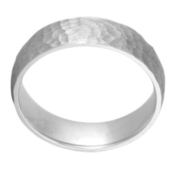 14k White Gold Women's Comfort Fit Hammered Satin-finished Wedding Band