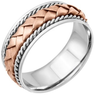 14k Two-tone Gold Women's Comfort Fit Handmade Woven Wedding Band