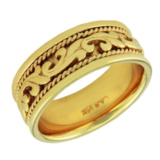14k Yellow Gold Women's Comfort Fit Handmade Leaf Wedding Band