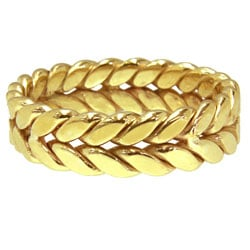 14k Yellow Gold Women's Comfort Fit Handmade Rope Wedding Band