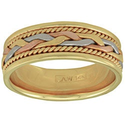 14K Tri-color Gold Women's Comfort Fit Handmade Wedding Band