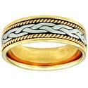 14k Two-tone Gold Women's Comfort Fit Handmade Rope Weave Wedding Band