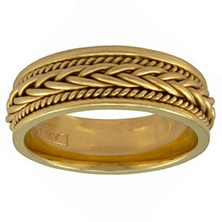 14k Yellow Gold Women's Satin Comfort Fit Handmade Wedding Band