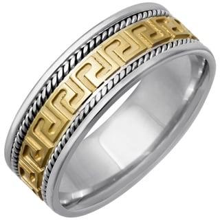 14k Two-tone Gold Women's Comfort Fit Handmade Greek Design Wedding Band