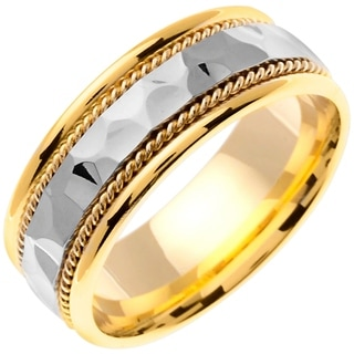 14k Two-tone Gold Women's Comfort Fit Handmade Hammered Weave Wedding Band