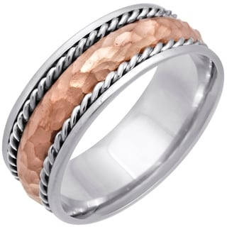 14k Two-tone Gold Women's Comfort Fit Handmade Hammered Rope Wedding Band