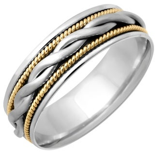 14k Two-tone Gold Women's Comfort Fit Handmade Woven Rope Wedding Band