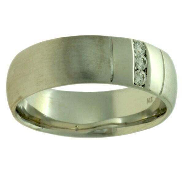 14k White Gold 1/8 Ct TDW Women's Comfort Fit Diamond Wedding Band (G-H, SI1-SI2)