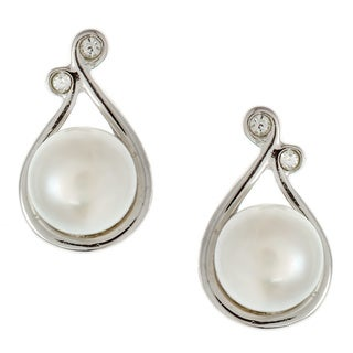 Kabella Jewelry Silver White FW Pearl and CZ Earrings (6-6.5 mm)