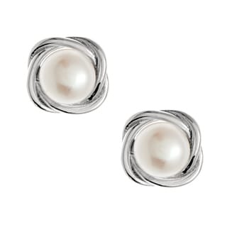 Kabella Jewelry Silver Button FW Pearl Knotted Stud Earrings (6.7 mm)