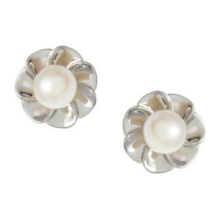 Kabella Sterling Silver White Freshwater Pearl Flower Earrings (6-6.5 mm)