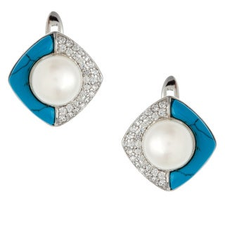 Kabella Sterling Silver FW Pearl, Turquoise and CZ Earrings (9-9.5 mm)