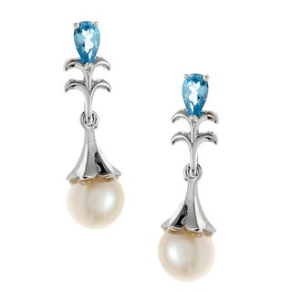 Kabella Sterling Silver FW Pearl and Blue Topaz Earrings (6-6.5 mm)