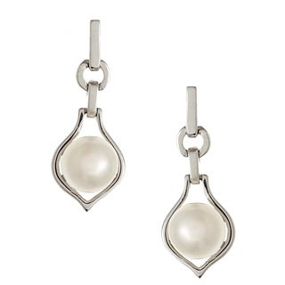 Kabella Jewelry Silver Freshwater Pearl Dangle Earrings (6-6.5 mm)