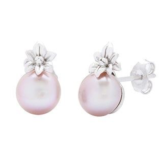 Kabella Jewelry Silver Pink Freshwater Pearl Flower Earrings (8 mm)