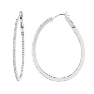 Sterling Silver 1/2ct TDW Diamond Oval Hoop Earrings (G-H, I1)