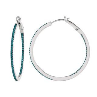 Sterling Silver 5/8ct TDW Blue Diamond Round Hoop Earrings