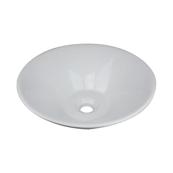 Highpoint Collection 16-inch Tapered Ceramic White Bathroom Vessel Sink