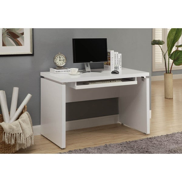 White Long Computer Desk