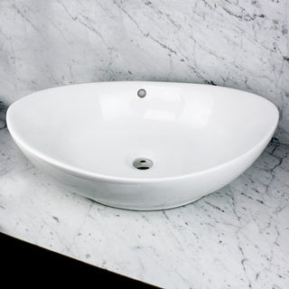 Highpoint Collection 23-inch White Ceramic Oblong Bathroom Vessel Sink