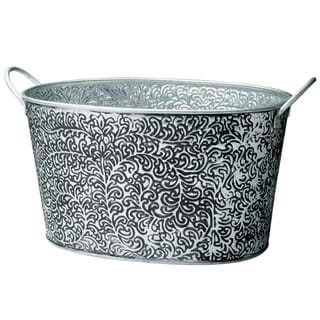 Antiqued 'Vine Relief' Oval Metal Party Tub