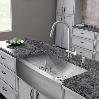 ... -in-one 30-inch Farmhouse Stainless Steel Kitchen Sink and Faucet Set