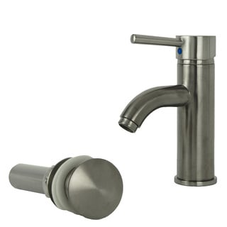Fontaine Ultime Brushed Nickel European Single Post Bathroom Faucet and Drain Set