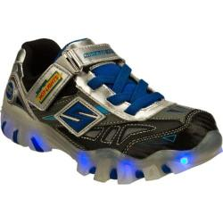 Boys' Skechers Super Hot Lights Street Lightz Halt Black/Silver/Royal