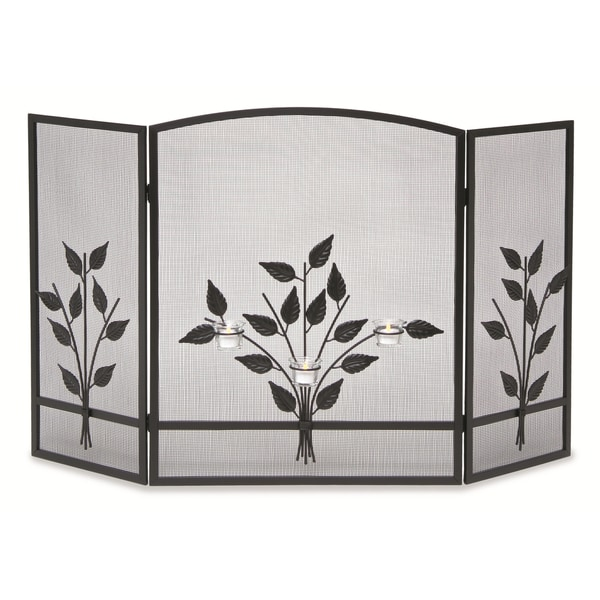 Pilgrim Home & Hearth NF Three Tea Light Black Fireplace Screen