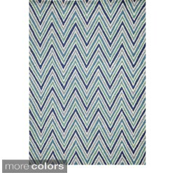 Chevron Blue Hand-hooked Rug (5' x 7')