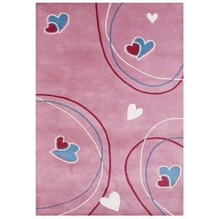 Handmade Shell Pink New Zeeland Blend Wool Area Rug (5' x 8')