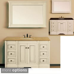 Natural Granite Top 48-inch Single Sink Ivory Antiqued Bathroom Vanity with Matching Wall Mirror