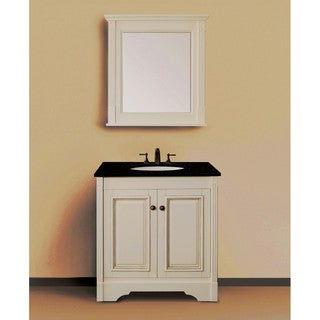 Single Sink Ivory White 30-inch Bathroom Vanity with Natural Granite Top and Matching Wall Mirror