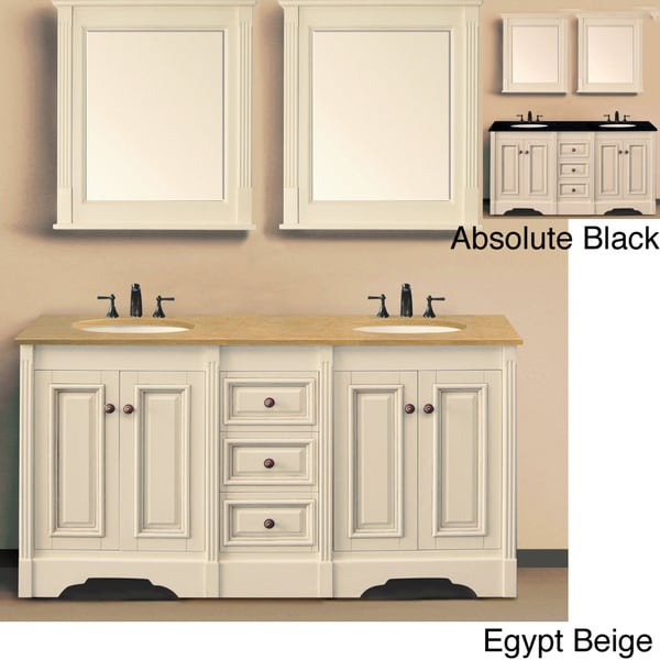 Bathroom Vanity with Natural Granite Top and Matching Wall Mirrors