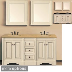 Ivory White 60-inch Double Sink Bathroom Vanity with Natural Granite Top and Matching Wall Mirrors