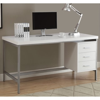 White and Silver Metal 60-inch Office Desk