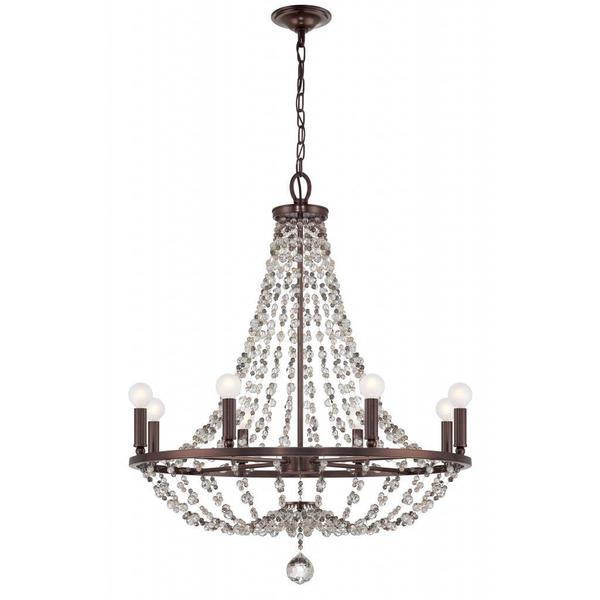 8 Light Bronze Crystal Chandelier