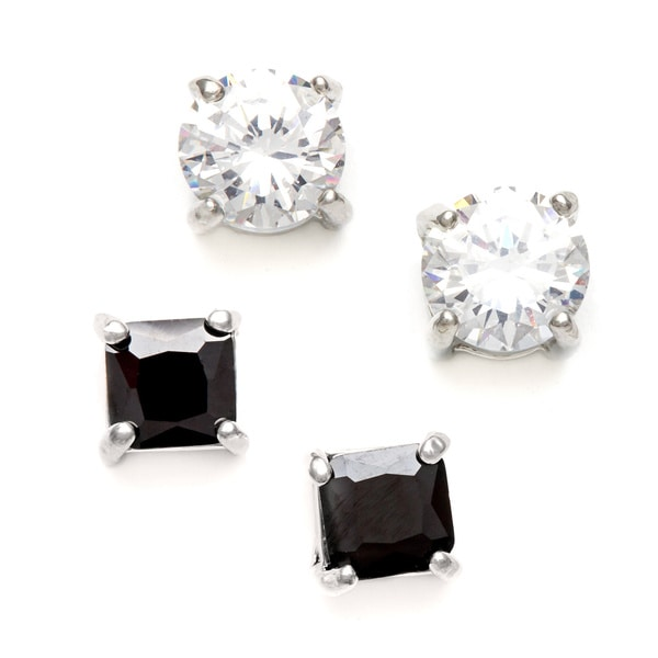 City by City Silvertone Clear and Black Cubic Zirconia 2-pair Stud Earring Set