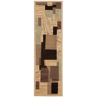 Nourison Modesto Abstract Beige Runner Rug (2'2 x 7'3)