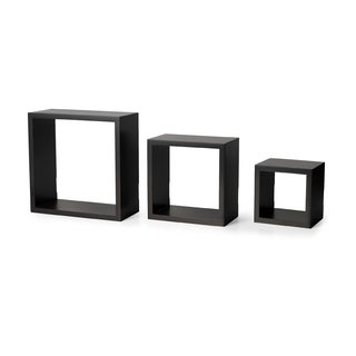 Melannco Espresso Square Shelves Set (Set of 3)