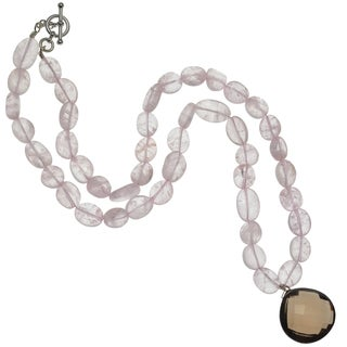 Ashanti Sterling Silver Smokey Quartz and Rose Quartz Gemstone Handmade Necklace (Sri Lanka)