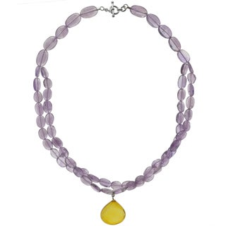 Ashanti Sterling Silver Yellow Chalcedony and Amethyst Gemstone Handmade Necklace (Sri Lanka)