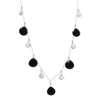 Ashanti Sterling Silver Black Onyx and Rock Crystal Quartz Handmade Necklace (Sri Lanka)
