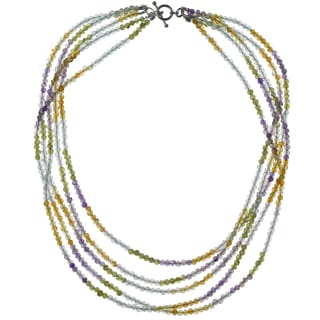 Ashanti Sterling Silver Pastel Multi Gemstone Handmade Necklace (Sri Lanka)