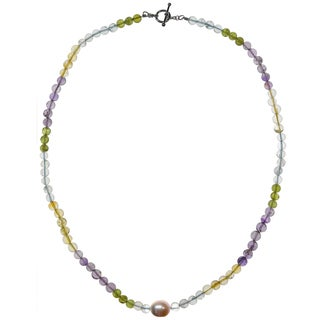 Ashanti Sterling Silver Pastel Multi Gemstone and Pink Pearl Handmade Necklace (Sri Lanka)